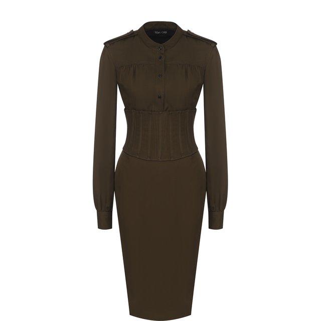 Приталенное платье-миди с погонами и широким поясом Tom Ford