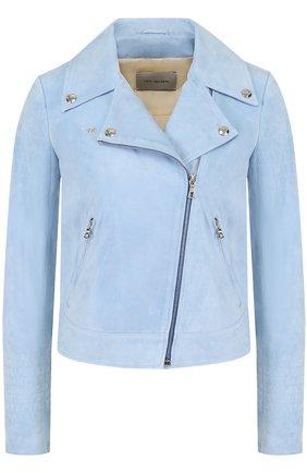 Укороченная замшевая куртка с косой молнией Yves Salomon голубая | Фото №1