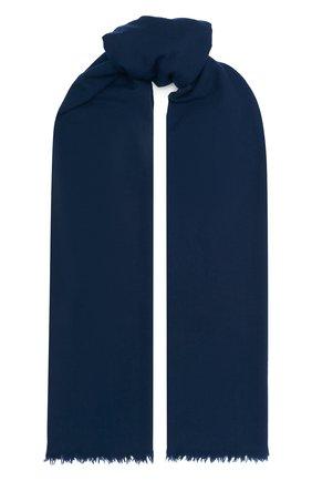 Мужской шерстяной шарф с необработанным краем LORO PIANA темно-синего цвета, арт. FAF1236 | Фото 1