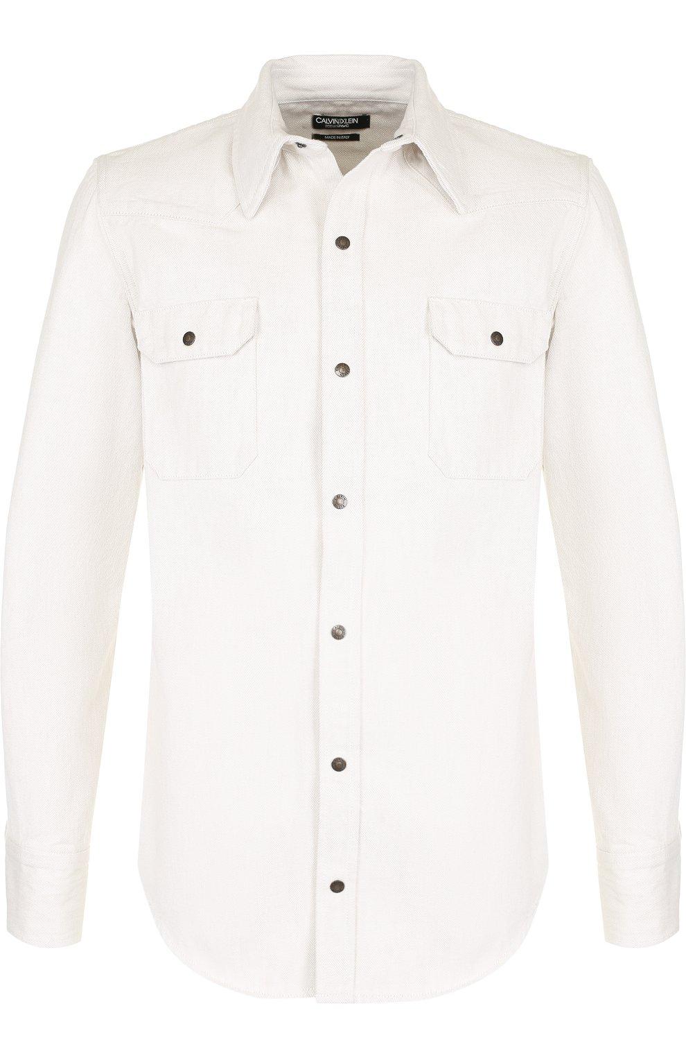 Джинсовая рубашка на кнопках | Фото №1