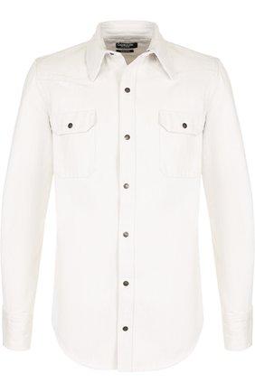 Джинсовая рубашка на кнопках CALVIN KLEIN 205W39NYC белая | Фото №1