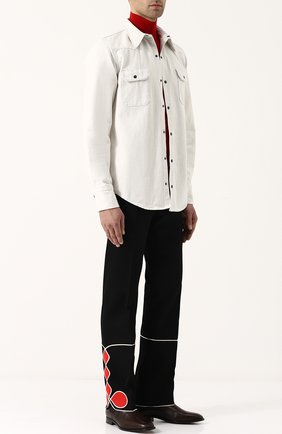Джинсовая рубашка на кнопках CALVIN KLEIN 205W39NYC белая | Фото №2
