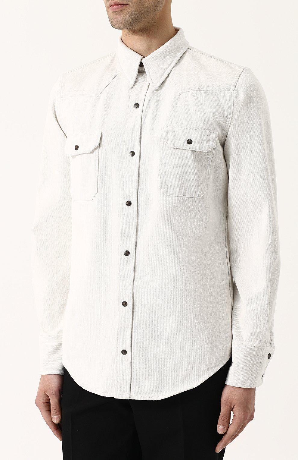 Джинсовая рубашка на кнопках CALVIN KLEIN 205W39NYC белая | Фото №3
