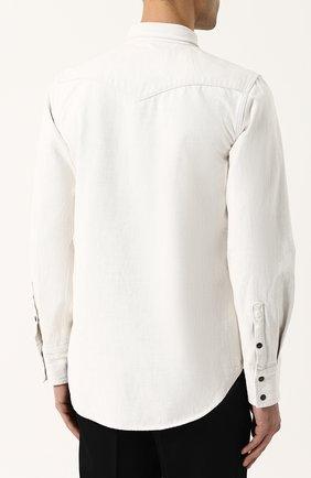 Джинсовая рубашка на кнопках CALVIN KLEIN 205W39NYC белая | Фото №4