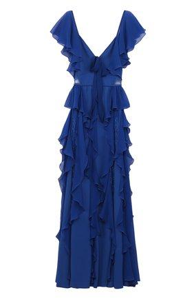 Приталенное платье-макси с оборками и кружевными вставками | Фото №1