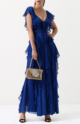 Приталенное платье-макси с оборками и кружевными вставками Elie Saab синее | Фото №1