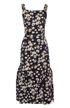 Хлопковое платье-миди с цветочным принтом | Фото №1