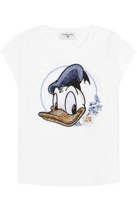 Детская хлопковая футболка со стразами и оборкой MONNALISA белого цвета, арт. 191603S4 | Фото 1