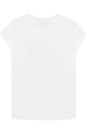 Детская хлопковая футболка со стразами и оборкой MONNALISA белого цвета, арт. 191603S4 | Фото 2