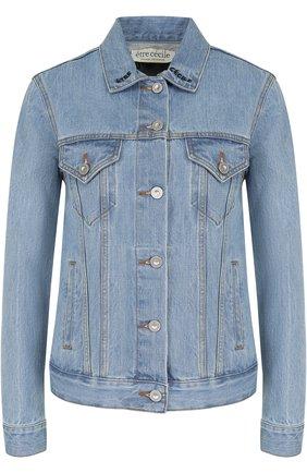 Джинсовая куртка с декорированной спинкой и потертостями | Фото №1