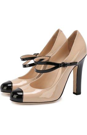 Лаковые туфли на устойчивом каблуке с ремешками | Фото №1