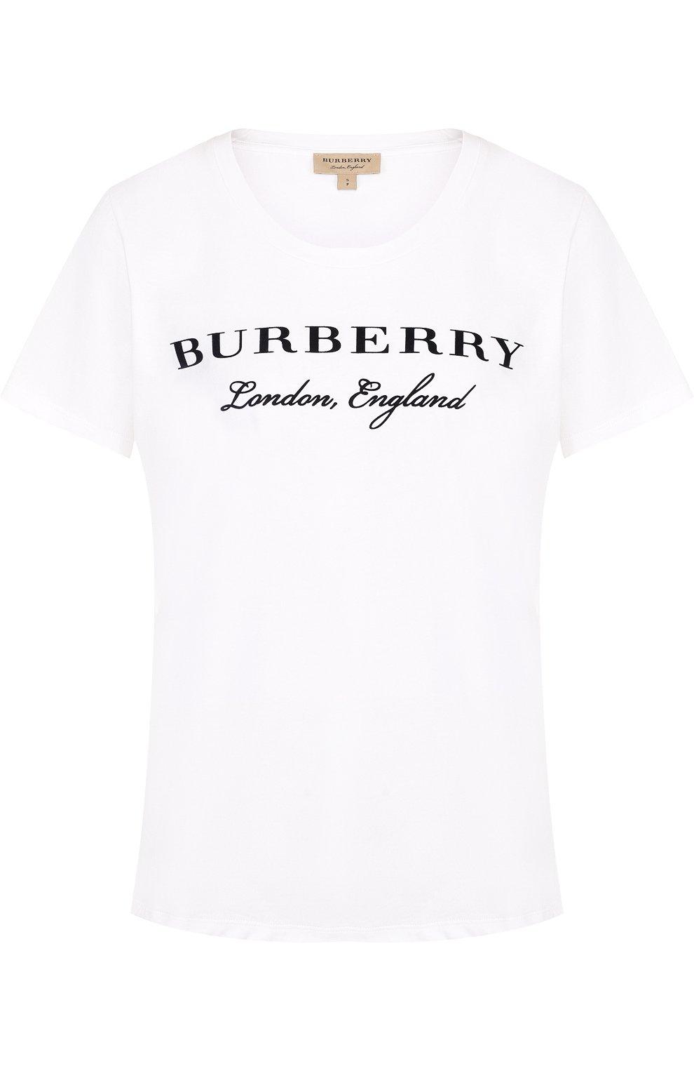 ce8d9d858705 Женская белого хлопковая футболка с круглым вырезом и логотипом ...