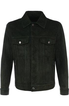 Замшевая куртка на молнии с отложным воротником   Фото №1