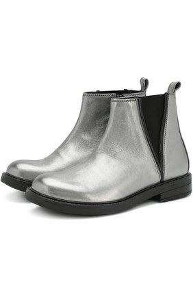 Ботинки из металлизированной кожи с эластичной вставкой | Фото №1