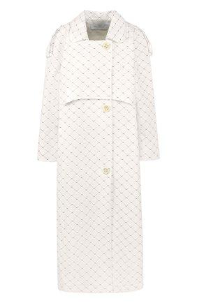 Хлопковое пальто в клетку с поясом Walk of Shame белого цвета | Фото №1