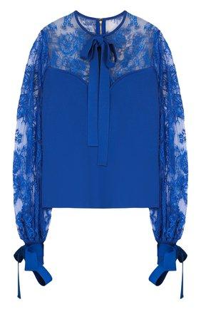 Женская приталенная блуза с бантами и кружевными вставками Elie Saab, цвет черный, арт. 9390 в ЦУМ | Фото №1