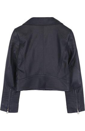 Укороченная кожаная куртка с косой молнией Yves Salomon Enfant черного цвета   Фото №1