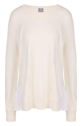 Женский однотонный кашемировый пуловер с круглым вырезом FTC белого цвета, арт. 700-0700 | Фото 1