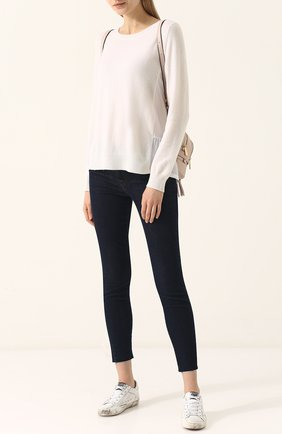 Женский однотонный кашемировый пуловер с круглым вырезом FTC белого цвета, арт. 700-0700 | Фото 2