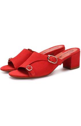 Замшевые мюли на устойчивом каблуке Santoni красные | Фото №1