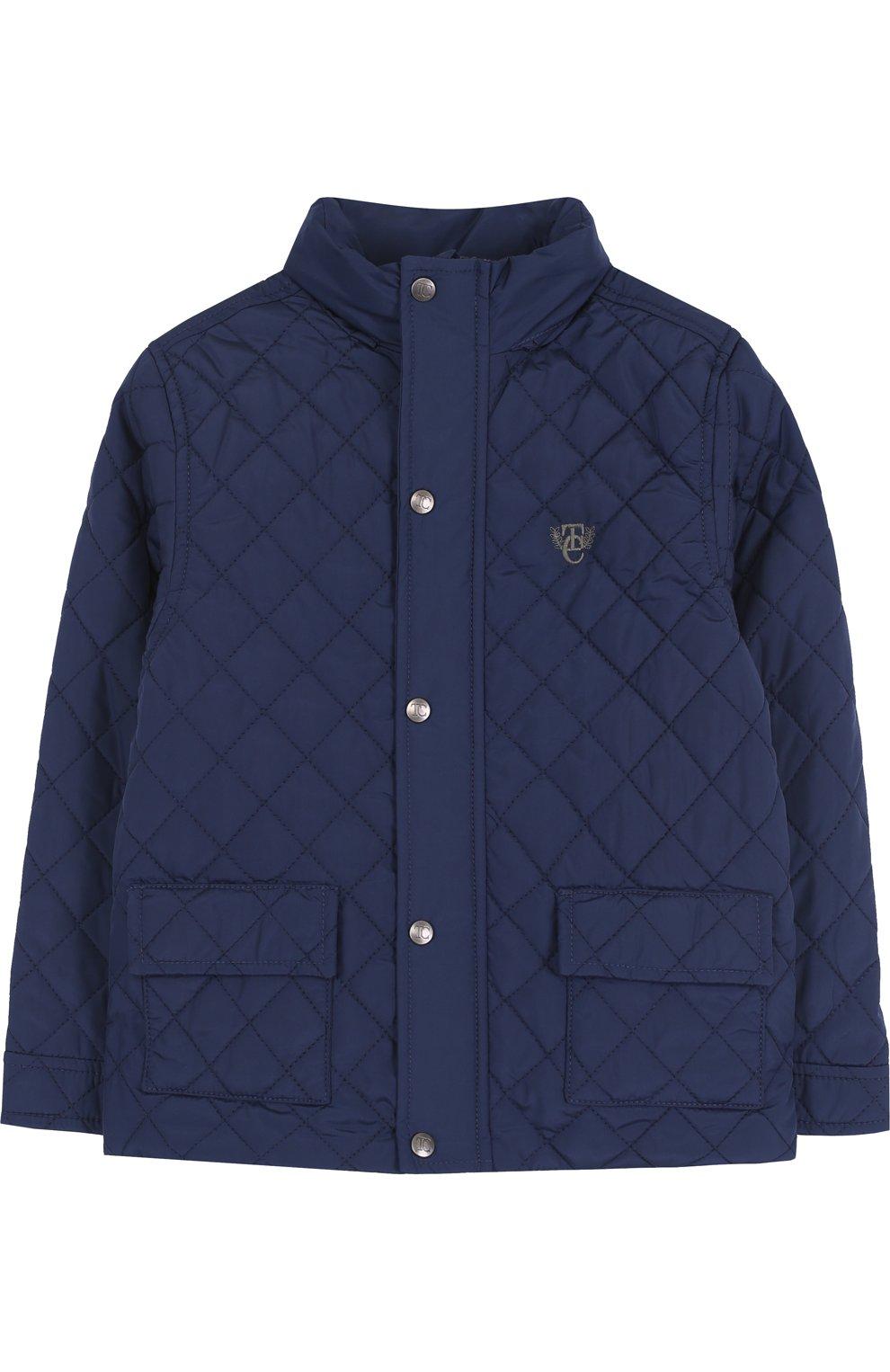117a7c8ee34 Стеганая куртка с воротником-стойкой Tartine Et Chocolat темно-синего цвета