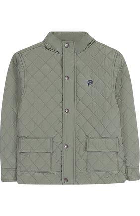 Стеганая куртка с воротником-стойкой Tartine Et Chocolat хаки цвета   Фото №1