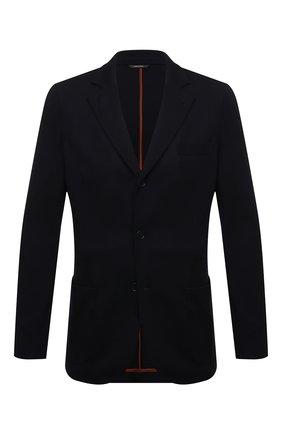 Мужской однобортный шерстяной пиджак LORO PIANA темно-синего цвета, арт. FAF6744 | Фото 1