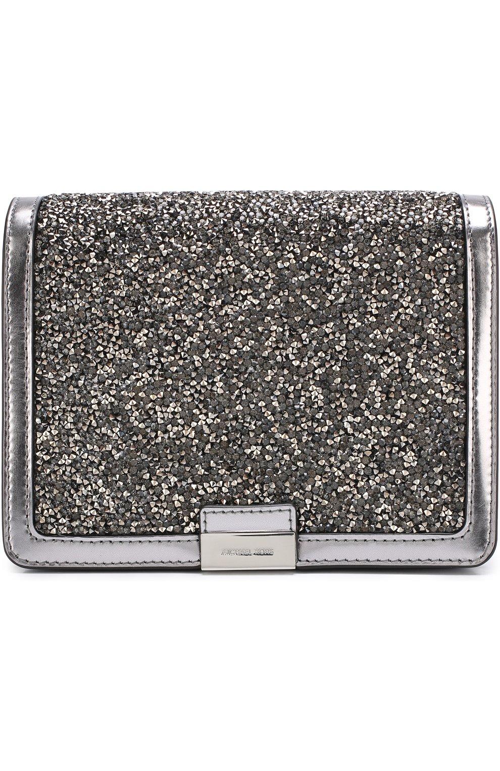 85208fa9aeda Сумка Jade с глиттером MICHAEL Michael Kors серебряного цвета | Фото №1