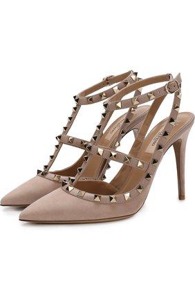 Замшевые туфли Valentino Garavani Rockstud с ремешками на шпильке | Фото №1