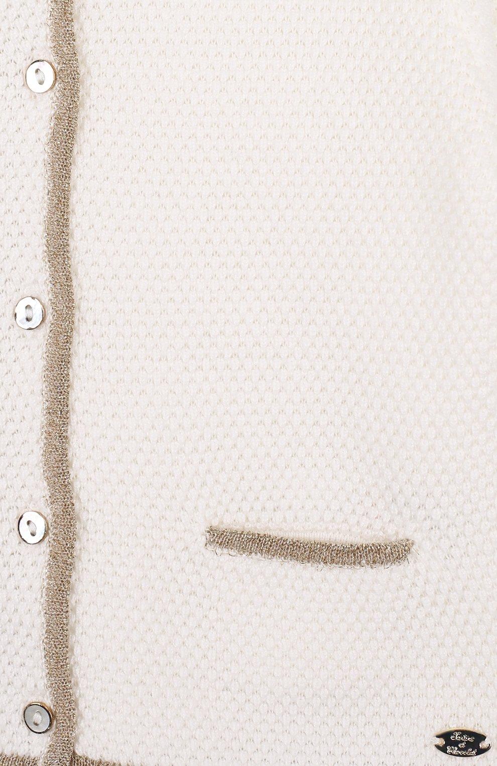 Детский хлопковый кардиган с круглым вырезом TARTINE ET CHOCOLAT бежевого цвета, арт. TL18031/1M-18M | Фото 3 (Рукава: Длинные; Материал внешний: Хлопок; Статус проверки: Проверено)