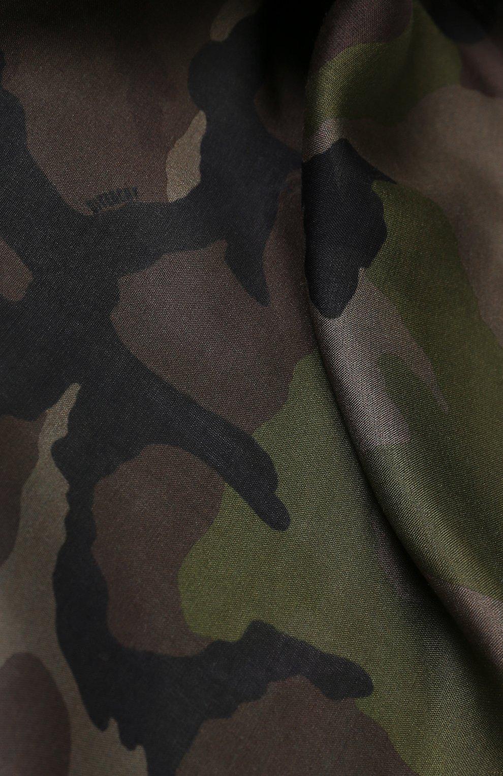 Шарф из смеси вискозы и шелка с камуфляжным принтом Givenchy хаки   Фото №2