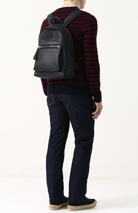 Мужской кожаный рюкзак с внешним карманом на молнии TOM FORD темно-синего цвета, арт. H0357P-CG8 | Фото 2