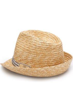 Детская соломенная шляпа с лентой IL TRENINO бежевого цвета, арт. 18 5971/E0 | Фото 1