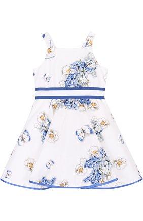 Хлопковое платье с принтом и широким поясом | Фото №1