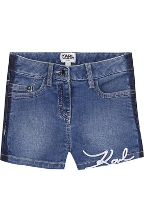 Детские джинсовые с декоративными потертостями и вышивкой Karl Lagerfeld Kids голубого цвета | Фото №1