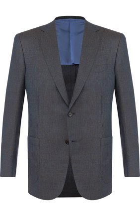 Мужской однобортный пиджак из смеси шерсти и льна с шелком BRIONI бирюзового цвета, арт. RG0J0L/P7ABX/BRUNIC0/2 | Фото 1