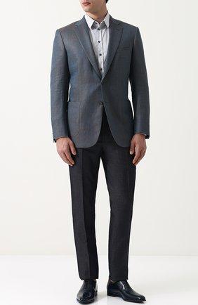 Мужской однобортный пиджак из смеси шерсти и льна с шелком BRIONI бирюзового цвета, арт. RG0J0L/P7ABX/BRUNIC0/2 | Фото 2