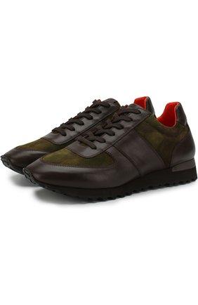Мужские комбинированные кроссовки на шнуровке RALPH LAUREN хаки цвета, арт. 815673571 | Фото 1 (Статус проверки: Проверена категория, Проверено; Материал внешний: Замша, Кожа; Подошва: Плоская; Стили: Классический)