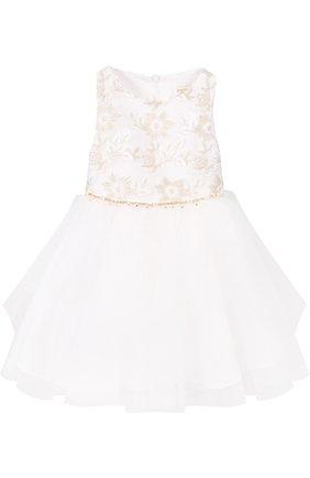 Детское платье с пышной юбкой и декоративной вышивкой David Charles белого цвета | Фото №1