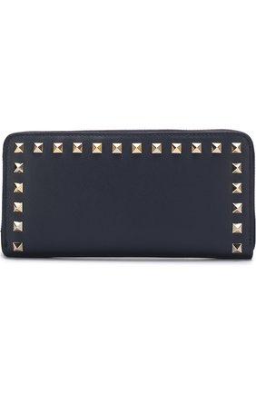 Женские кожаный кошелек valentino garavani rockstud на молнии VALENTINO темно-синего цвета, арт. PW2P0645/B0L | Фото 1