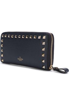Женские кожаный кошелек valentino garavani rockstud на молнии VALENTINO темно-синего цвета, арт. PW2P0645/B0L | Фото 2
