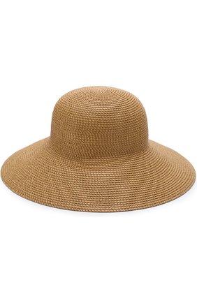 Шляпа с контрастной отделкой Eric Javits темно-бежевого цвета | Фото №1
