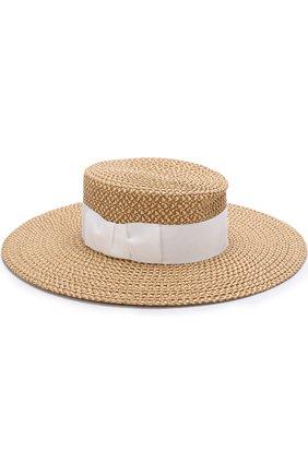 Шляпа с лентой Eric Javits бежевого цвета | Фото №1