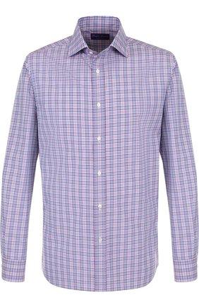 Мужская хлопковая рубашка в клетку RALPH LAUREN сиреневого цвета, арт. 790691201 | Фото 1