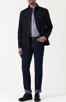Мужская хлопковая рубашка в клетку RALPH LAUREN сиреневого цвета, арт. 790691201 | Фото 2