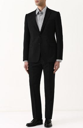 Мужская хлопковая сорочка с воротником кент RALPH LAUREN черно-белого цвета, арт. 790698735 | Фото 2