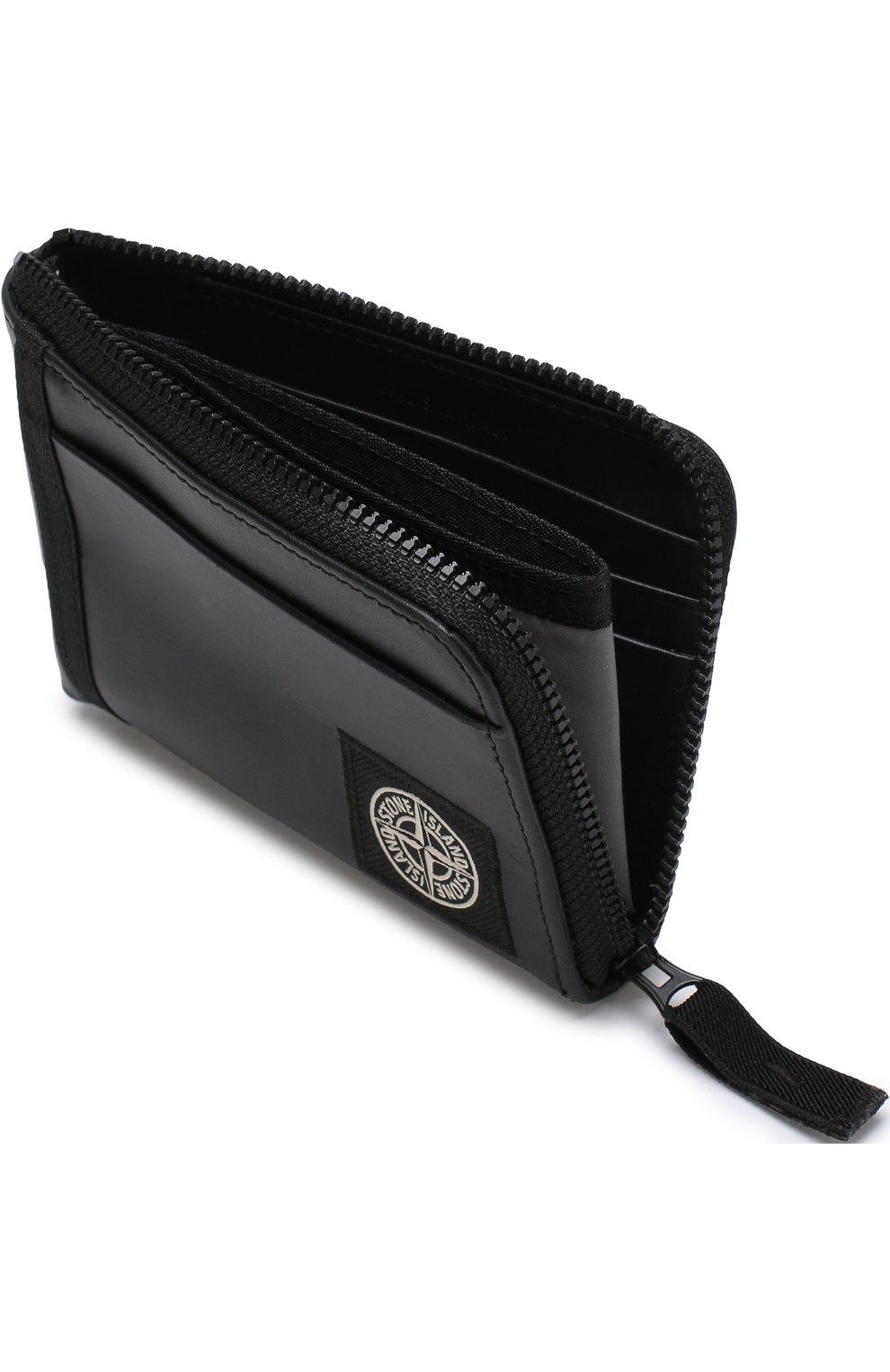 5f8799f9fd93 Кожаное портмоне на молнии с отделениями для кредитных карт Stone Island  черного цвета | Фото №