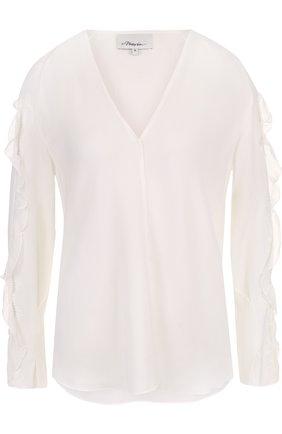 Шелковая блуза с оборками и V-образным вырезом   Фото №1