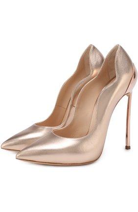 Туфли из металлизированной кожи на шпильке Blade | Фото №1