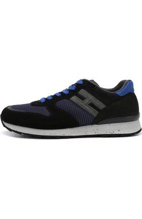 Комбинированные кроссовки на шнуровке Hogan темно-синие | Фото №3